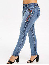 Plus Size Five Pockets Embroidered Jeans -
