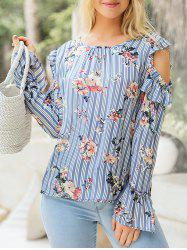 Striped Print Ruffle Cold Shoulder Blouse -