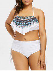 Plus Size Tribal Print Halter Overlay Bikini Set -