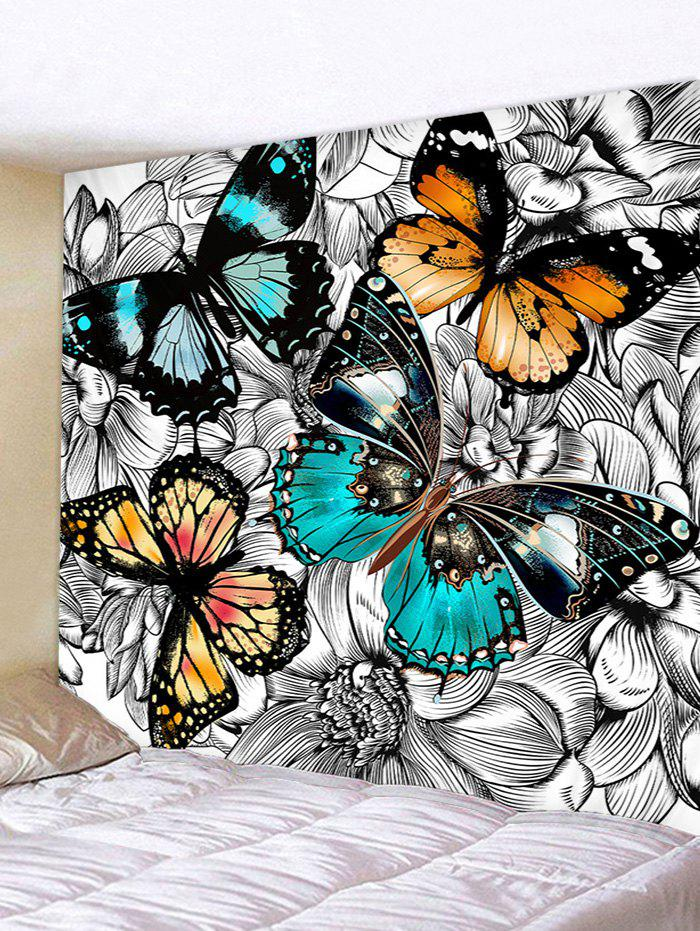 Sale Wall Hanging Art Butterflies In The Flowers Print Tapestry