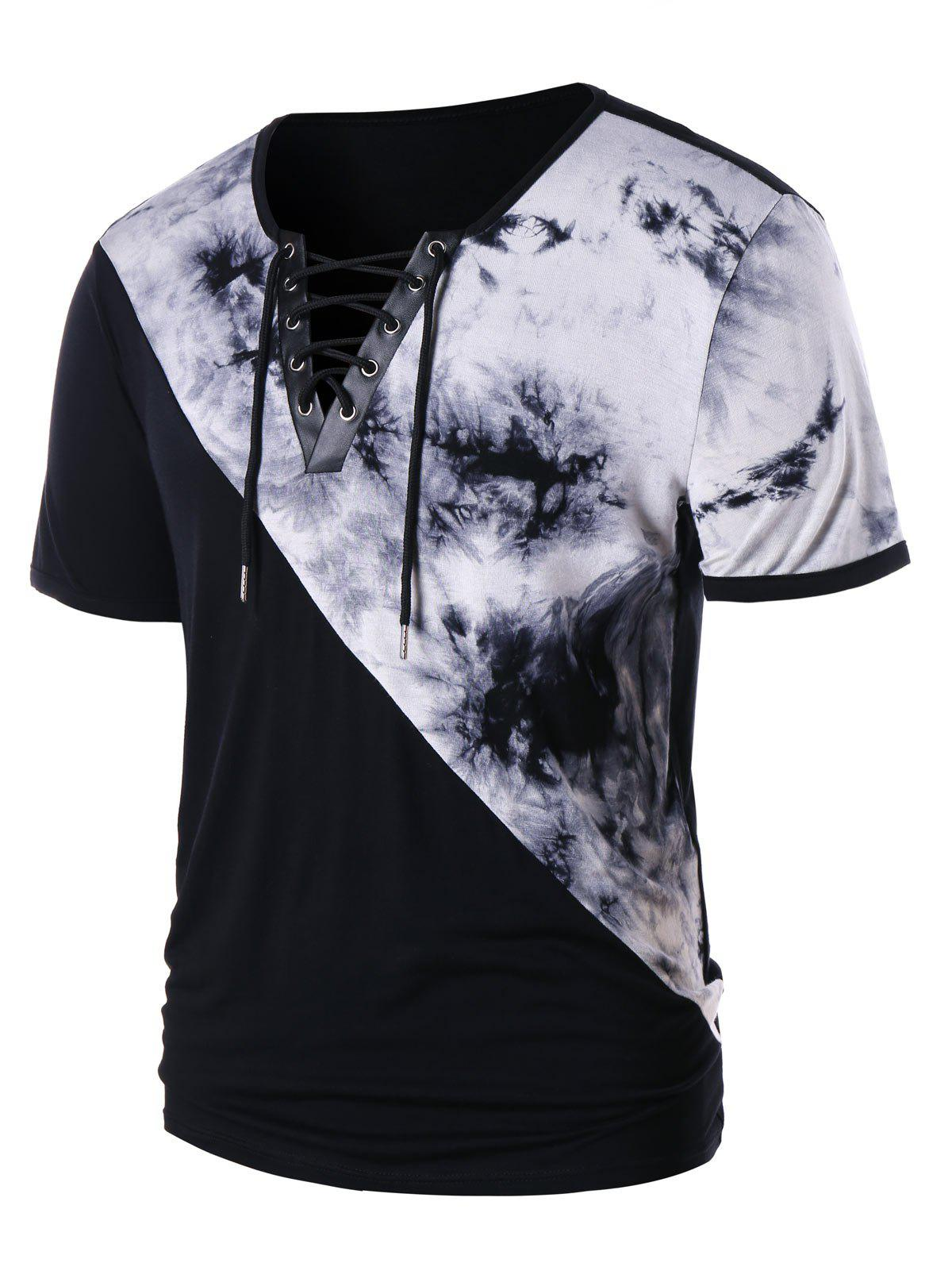 Cheap Lace Up Tie Dye Short Sleeve T-shirt