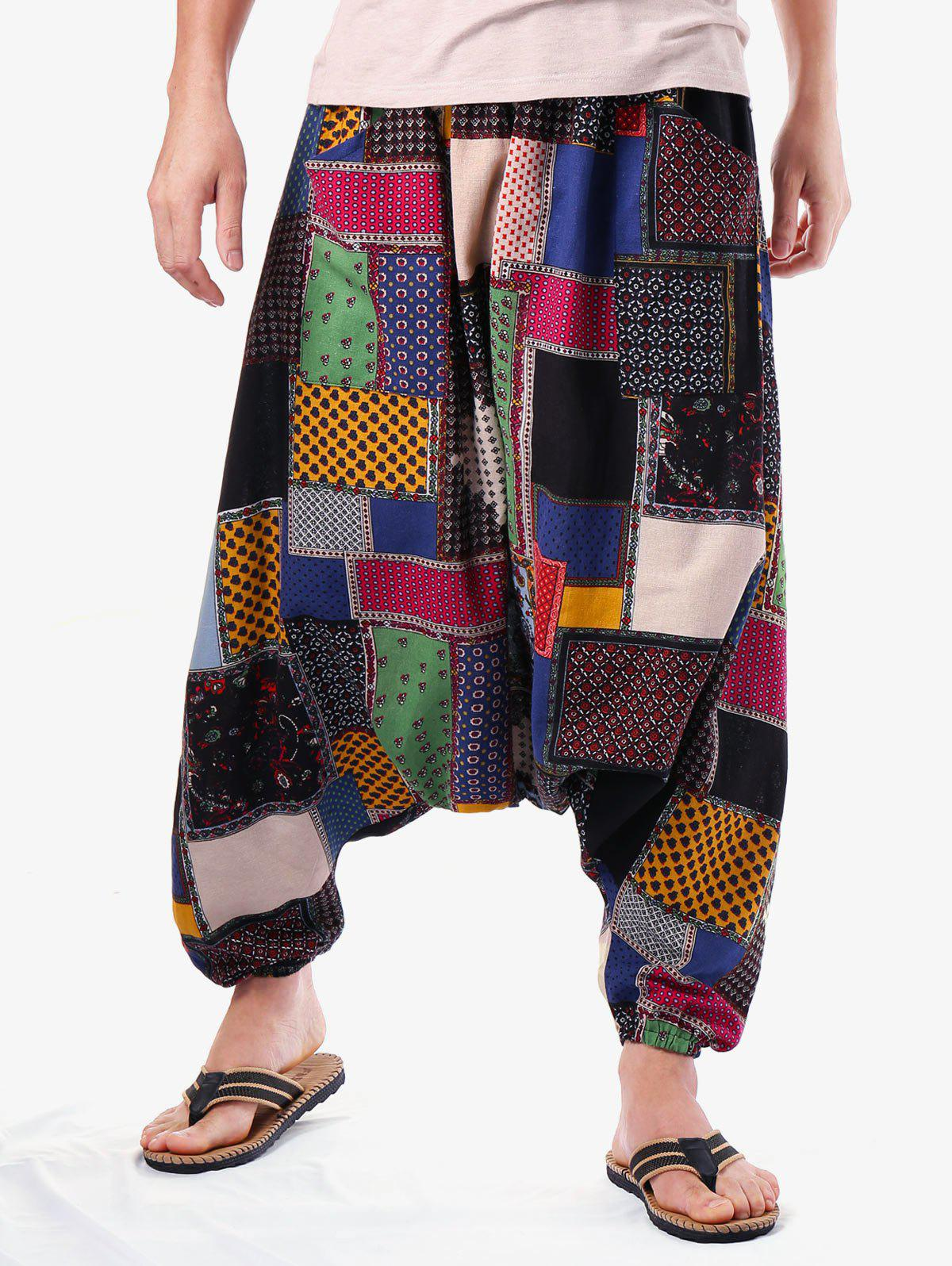 Online Tribal Geometric Print Casual Harem Pants