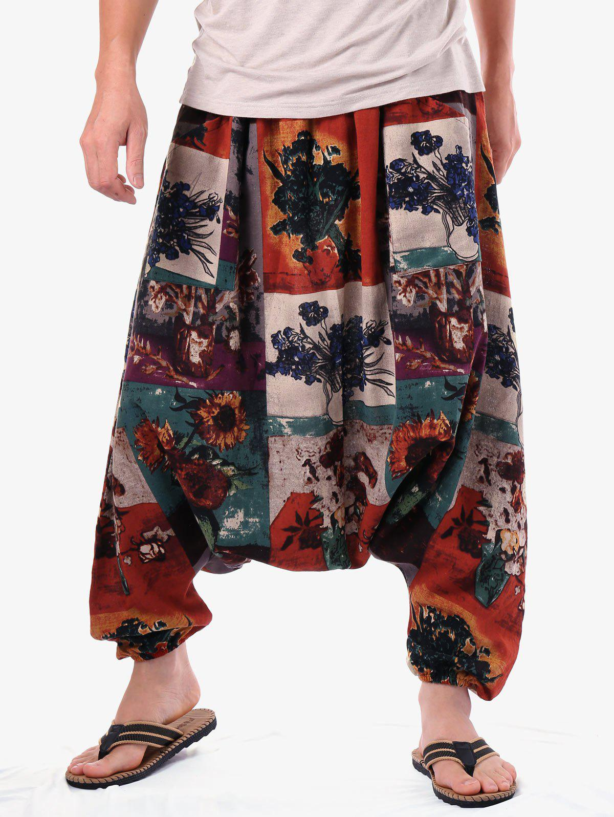 Trendy Retro Flower Vase Paint Harem Pants