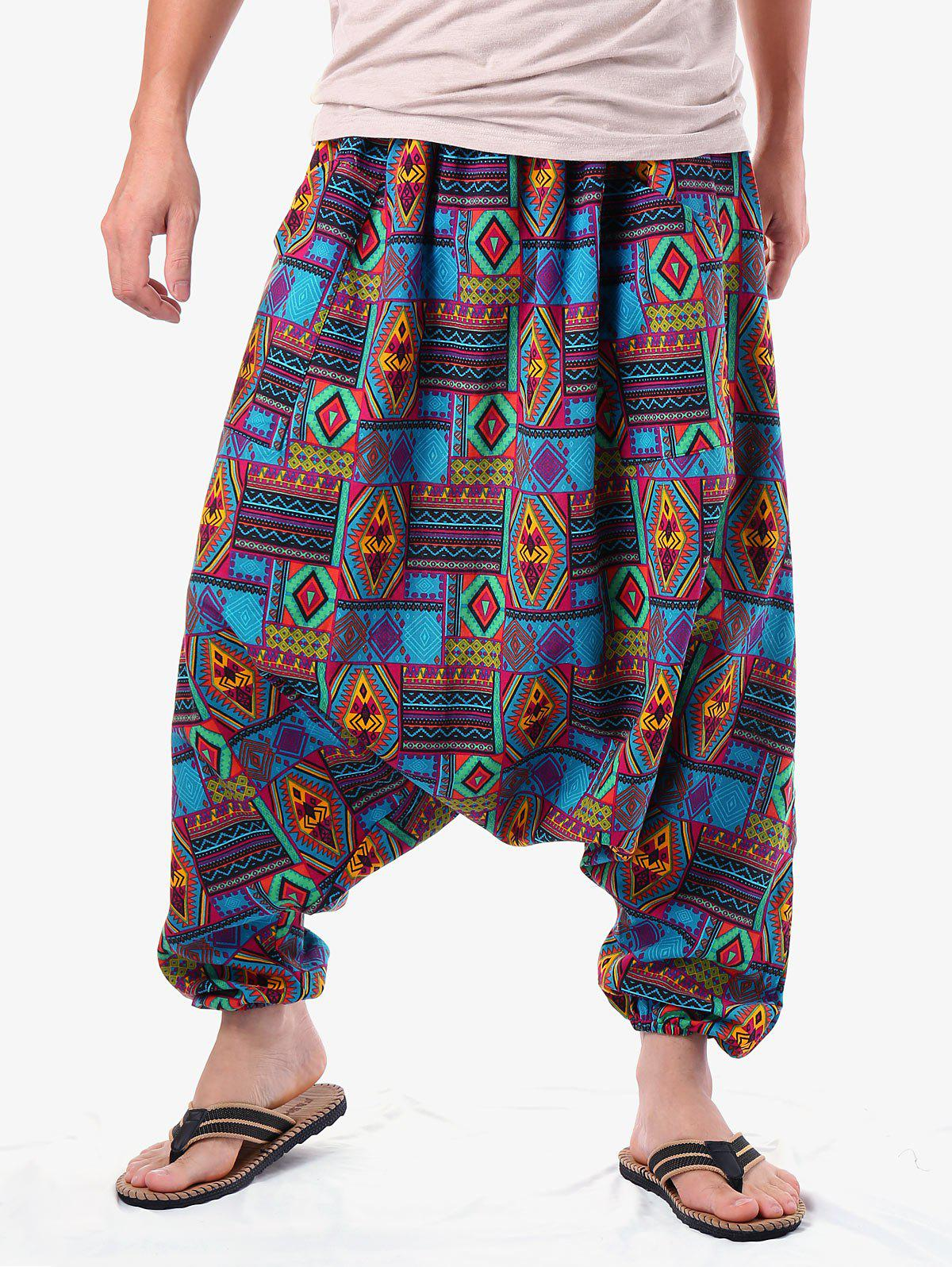 Discount Retro Geometric Print Harem Pants