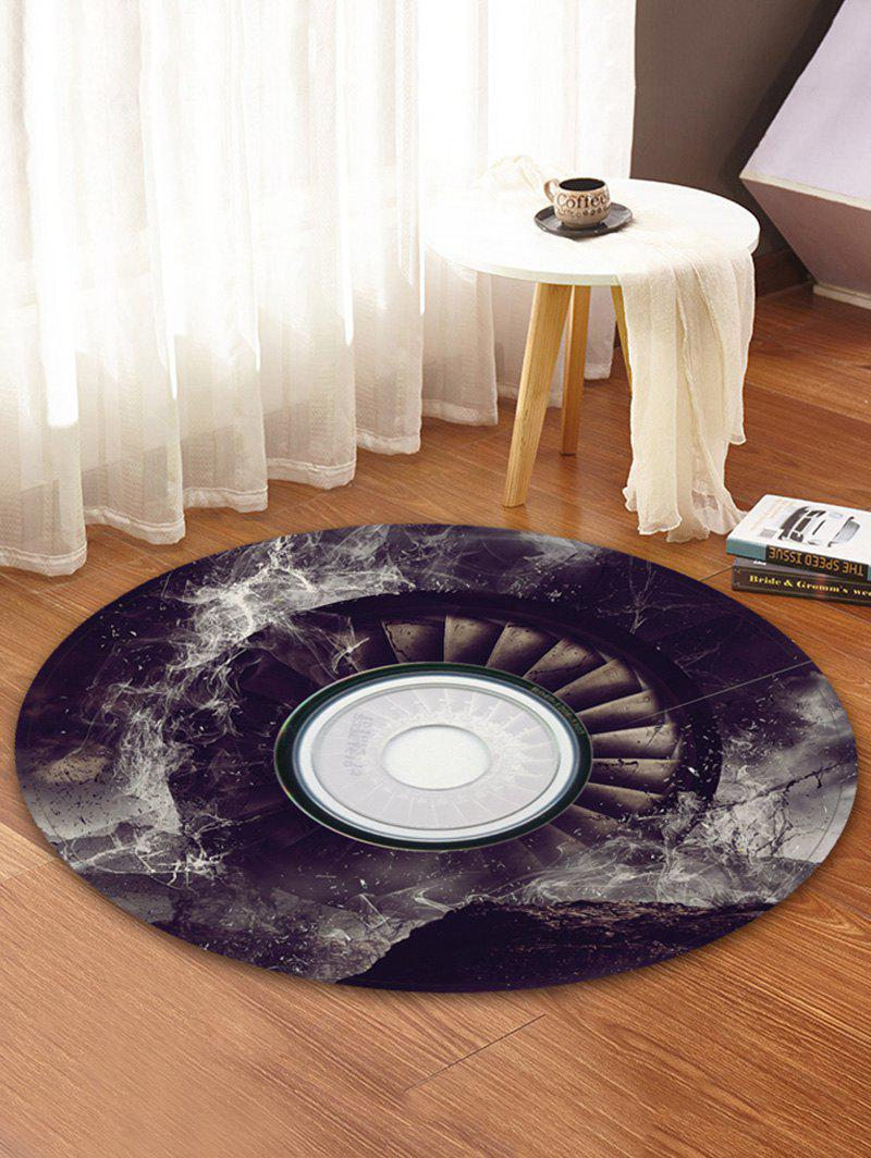 Discount 3D Music Record Print Round Coral Fleece Floor Mat