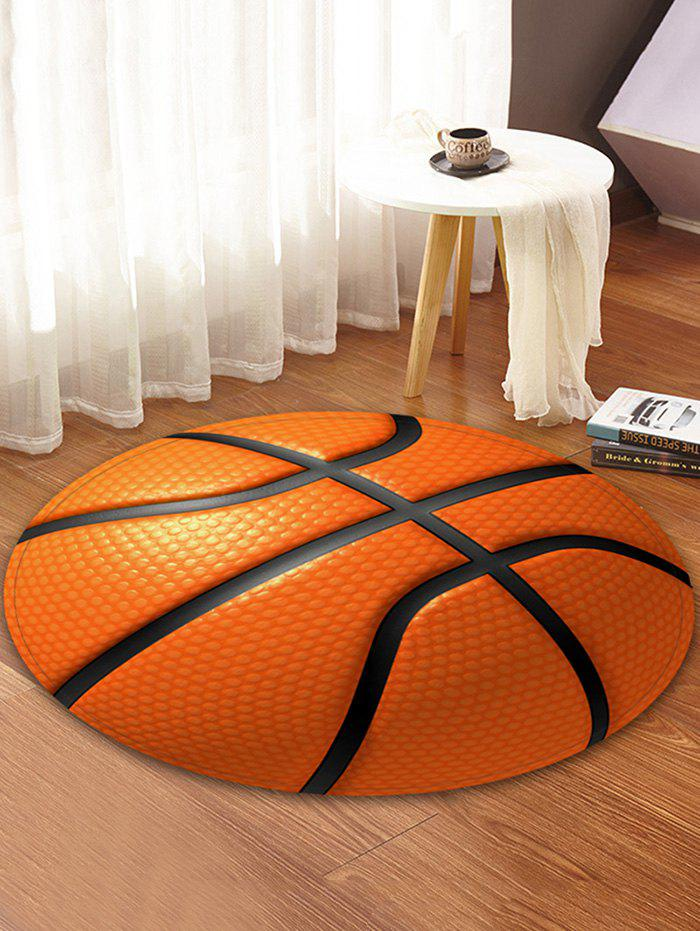 Hot 3D Basketball Printed Round Coral Fleece Floor Mat