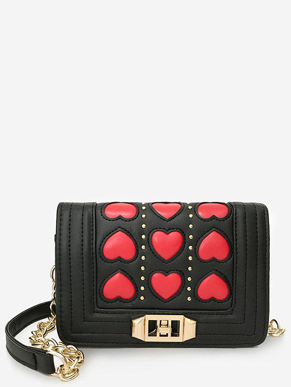 Outfits Hearts Pattern Color Block Studded Sling Bag