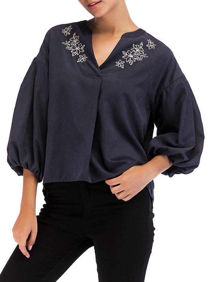 Chic Vintage Embroidery Lantern Sleeve Top