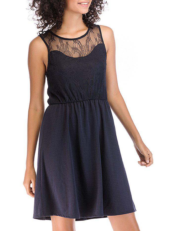 Chic Lace Round Neck Pleated Evening Sleeveless Dress
