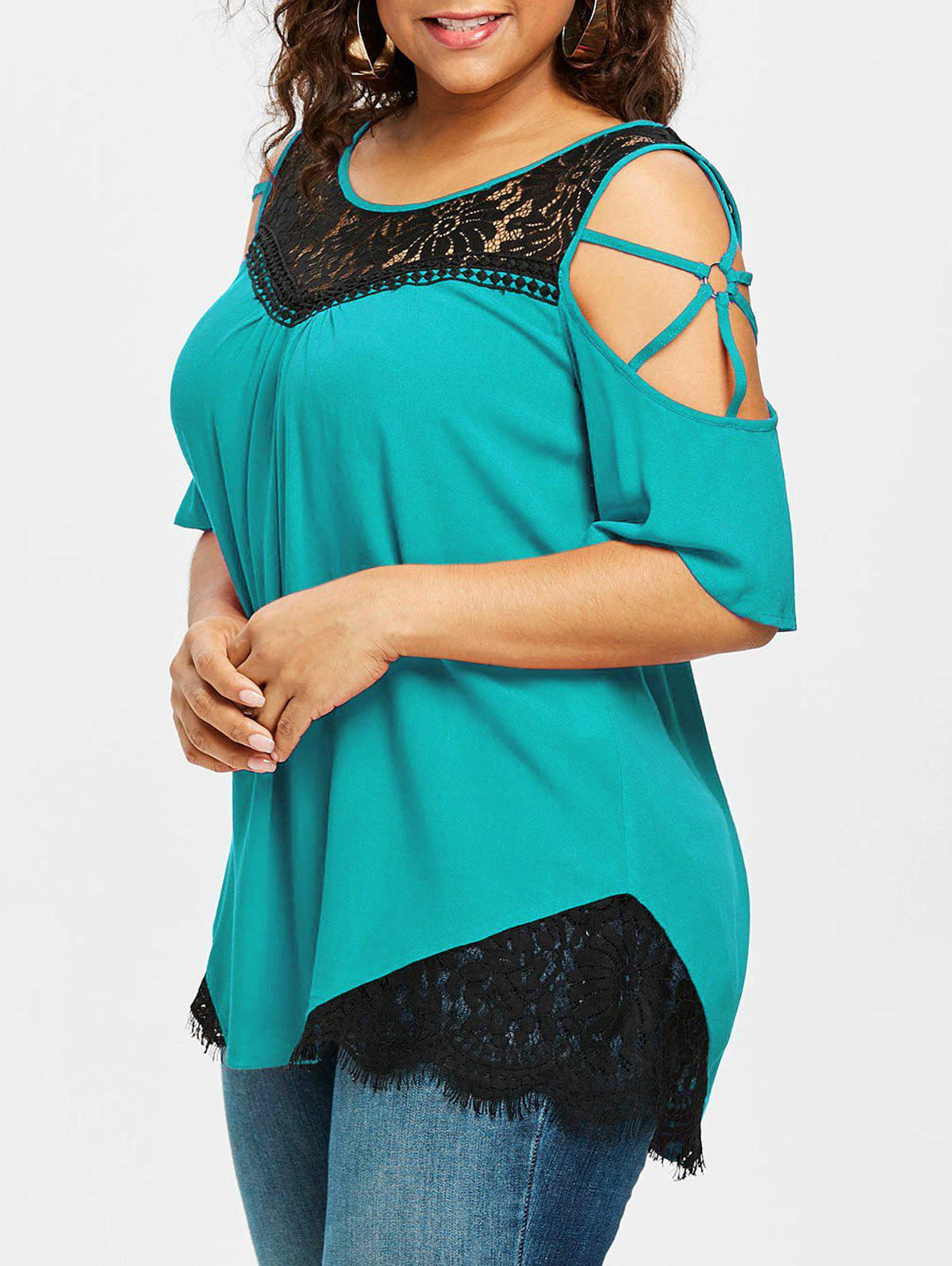 New Plus Size Cutout Contrast Lace Trim T-shirt