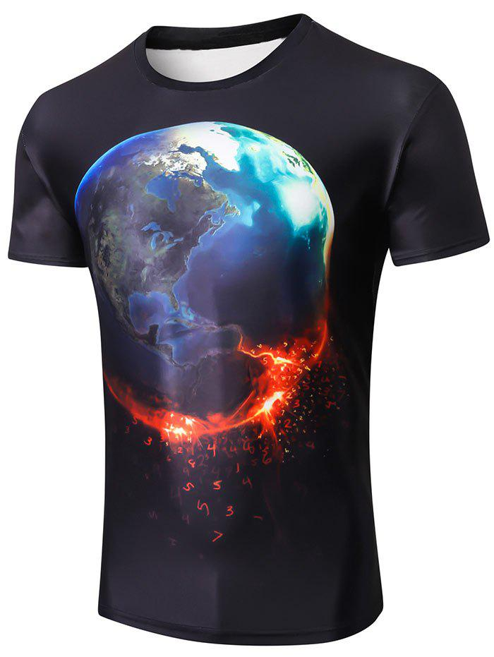 Unique Short Sleeve 3D Earth Number Print T-shirt