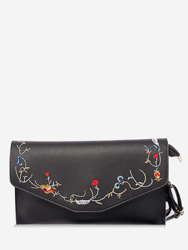 Buy Faux Leather Flower Embroidery Leisure Flap Crossbody Bag