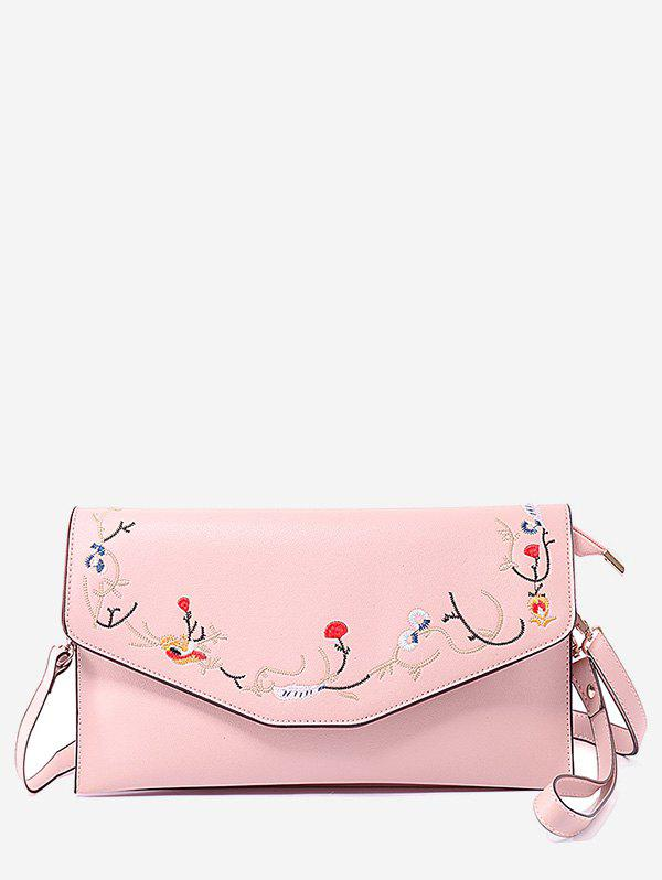 Outfits Faux Leather Flower Embroidery Leisure Flap Crossbody Bag