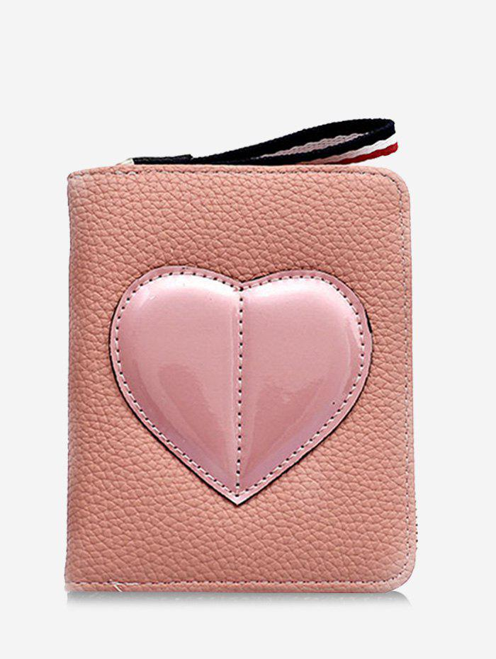 Affordable PU Leather Contrasting Color Heart Pattern Bi Fold Wallet