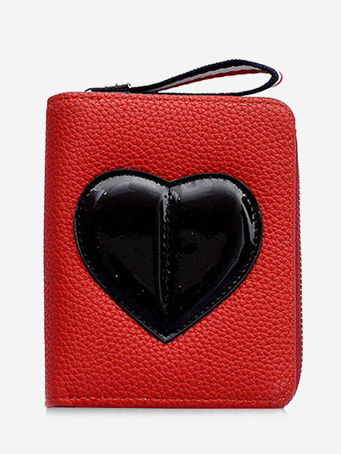 Sale PU Leather Contrasting Color Heart Pattern Bi Fold Wallet