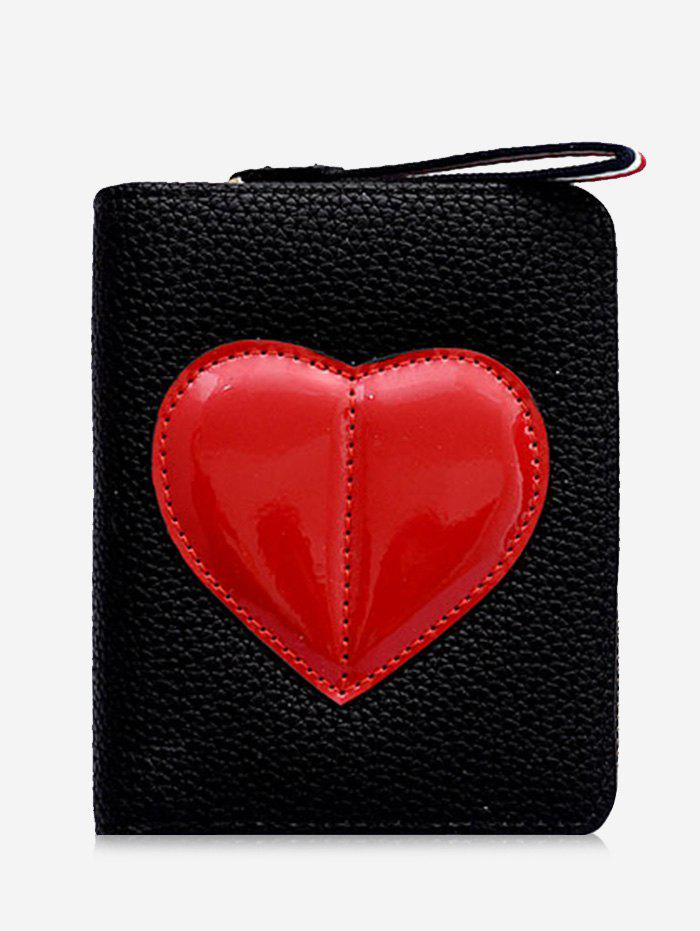 Discount PU Leather Contrasting Color Heart Pattern Bi Fold Wallet