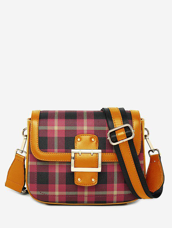 Sale Contrasting Color Plaid Buckled Crossbody Bag