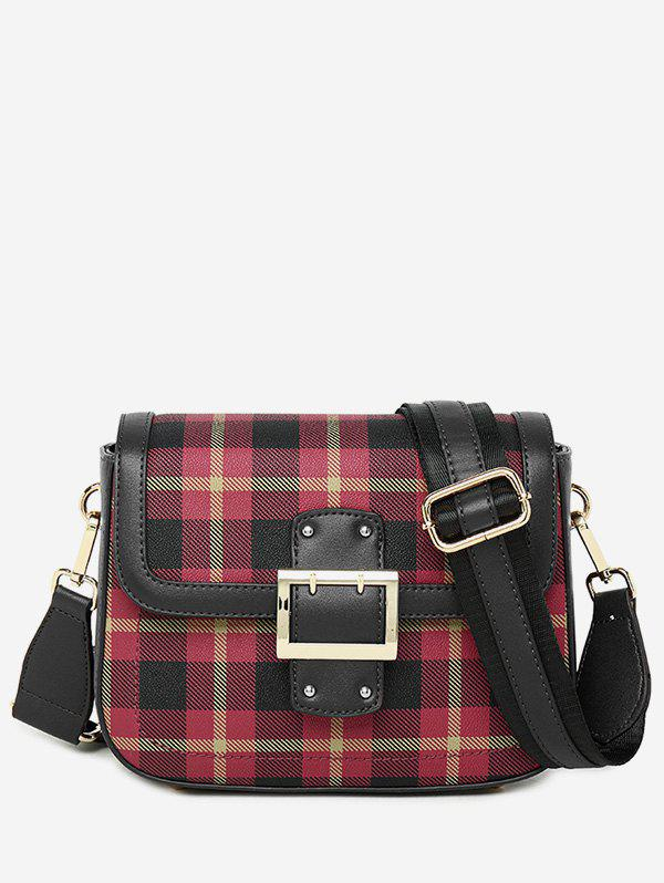 Best Contrasting Color Plaid Buckled Crossbody Bag