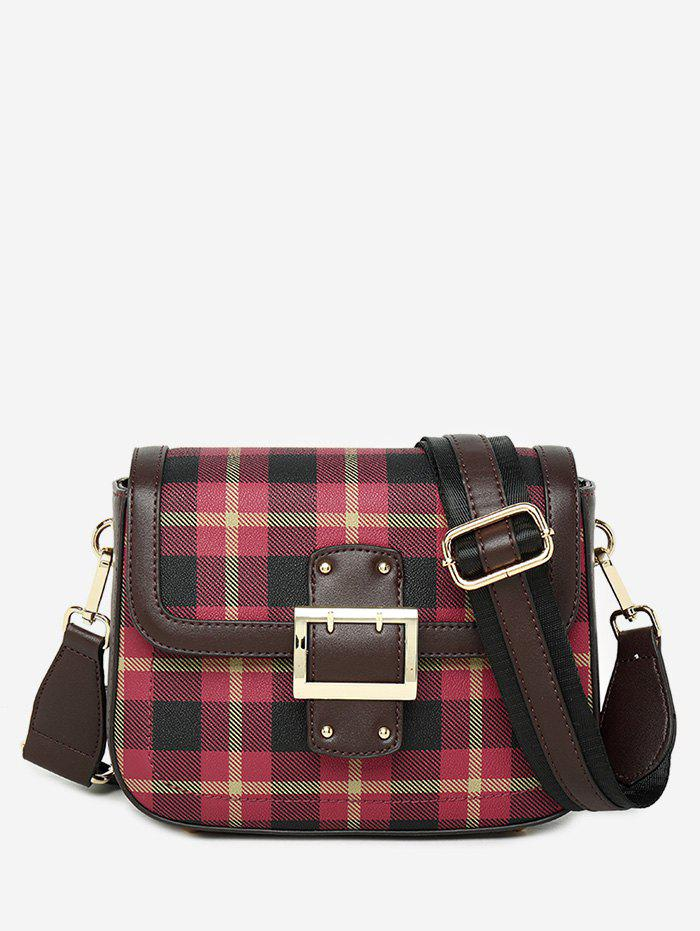 Cheap Contrasting Color Plaid Buckled Crossbody Bag