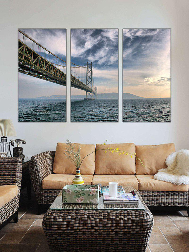 Fancy Bridge On the Sea Print Unframed Split Canvas Paintings
