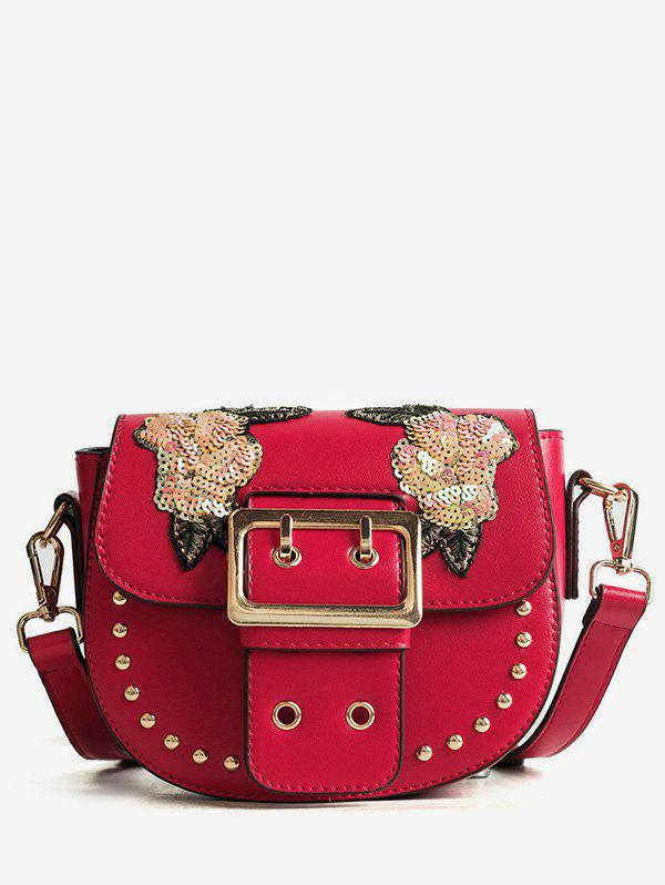 Latest Sequins Embroidery Chic Studs Buckle Crossbody Bag