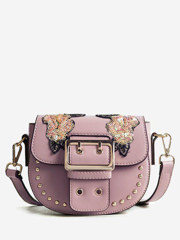Cheap Sequins Embroidery Chic Studs Buckle Crossbody Bag