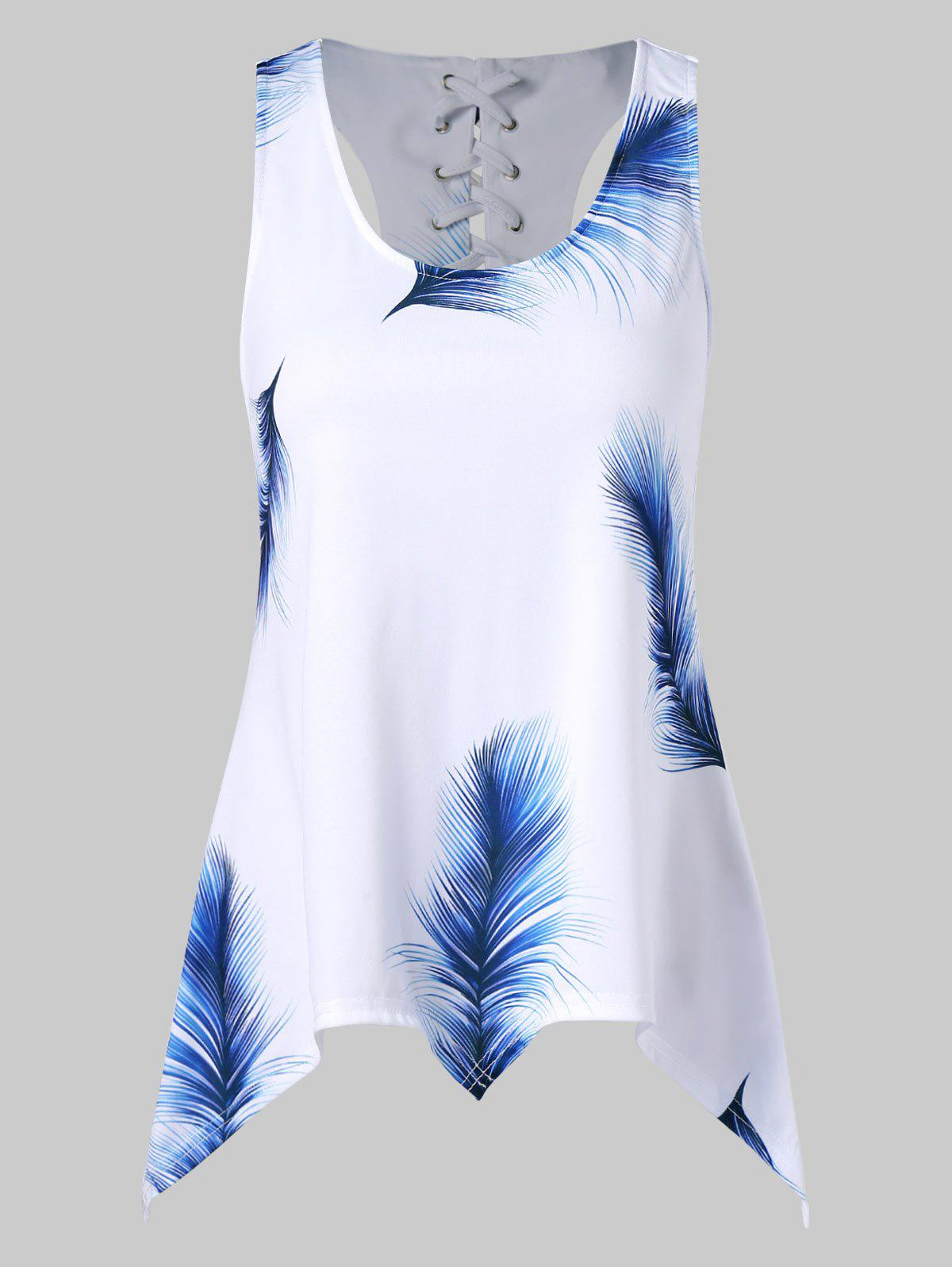 Online Feather Print Asymmetrical Tank Top