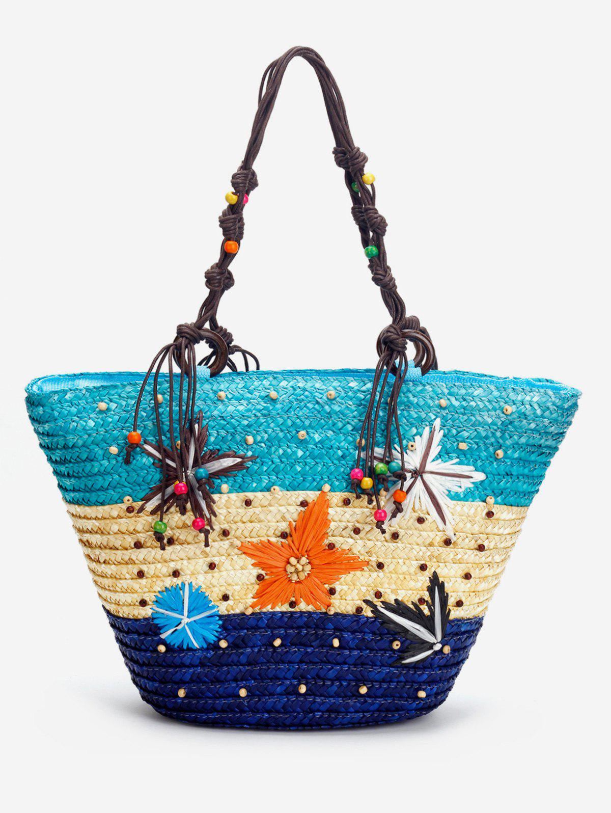 New Color Block Straw Beaded Embroidery Beach Tote Bag