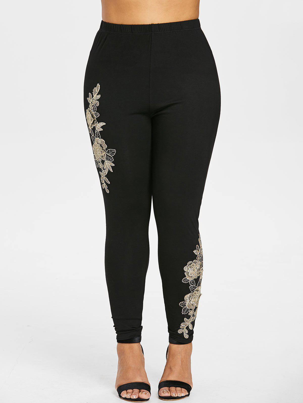 Outfit Plus Size High Waisted Embroidered Leggings