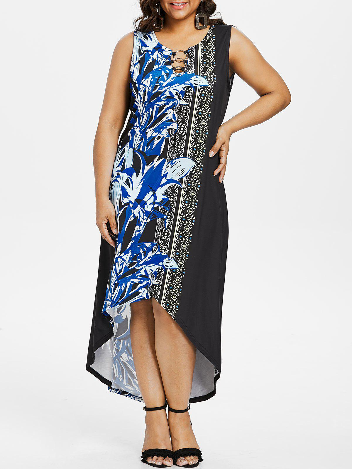 Sale Plus Size Graphic High Low Hem Maxi Dress