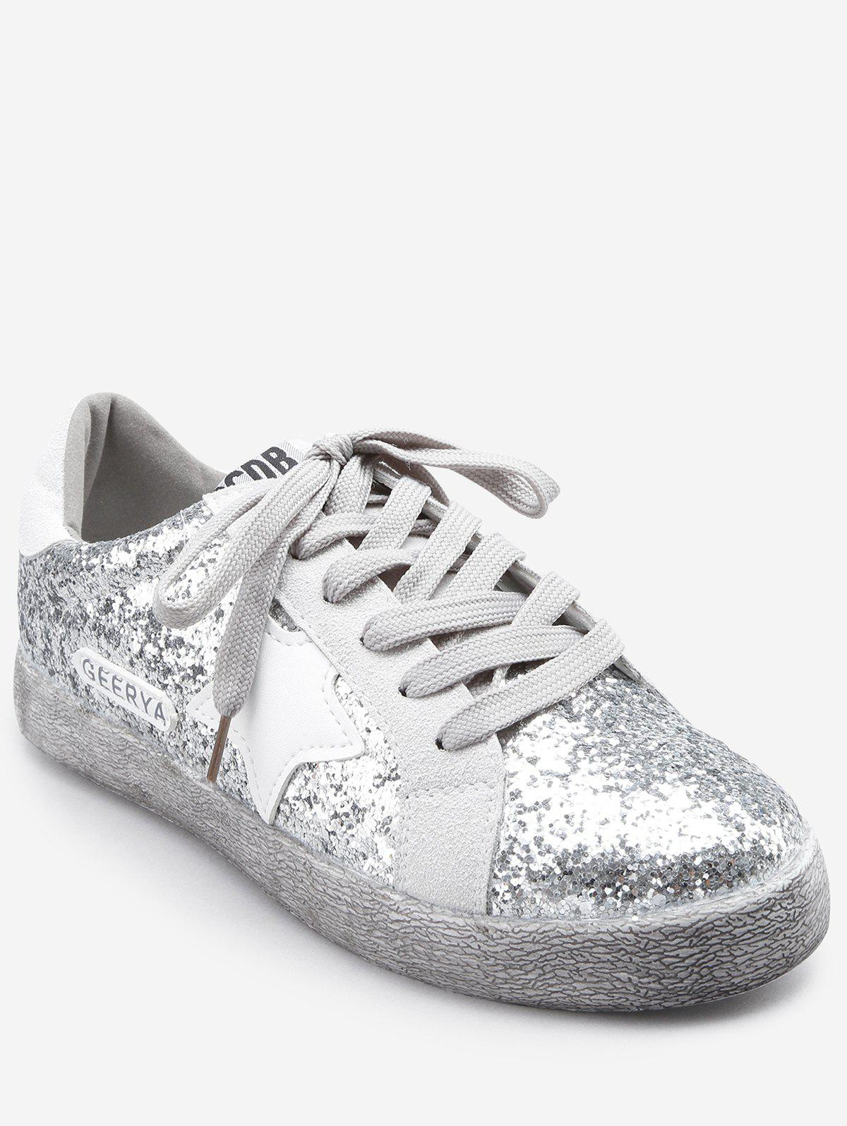 Buy Dazzling Sequins Pentagram Lace Up Sneakers