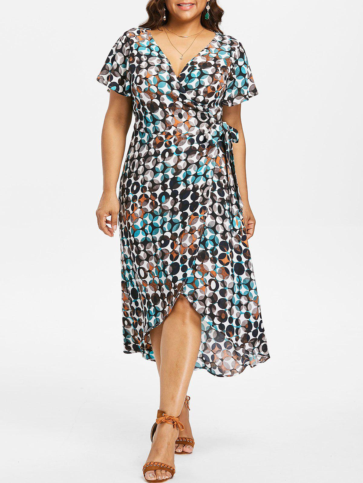 Fashion Plus Size Bubble Print Surplice Dress