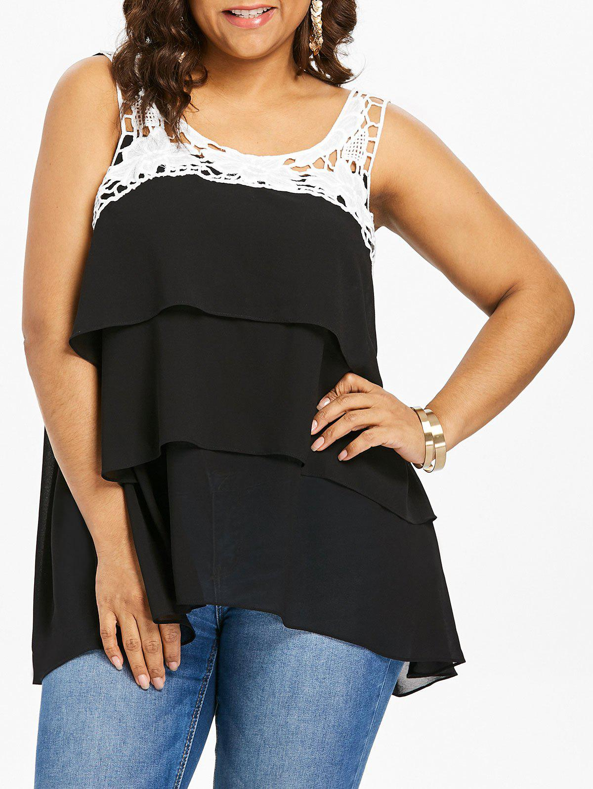 Outfit Plus Size Crochet Flower Layered Tank Top