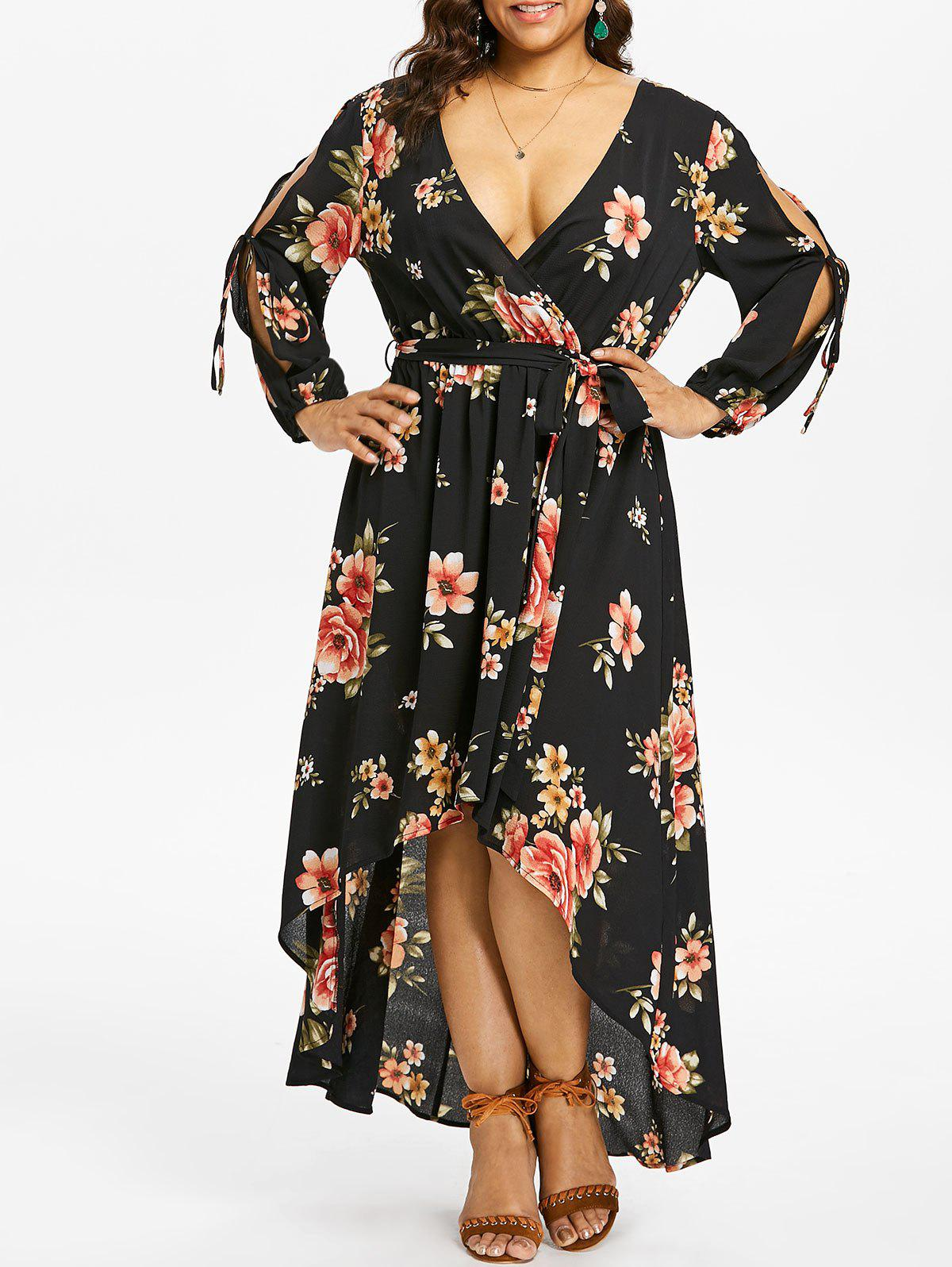 Online Plus Size Slit Sleeve Floral Maxi Dress
