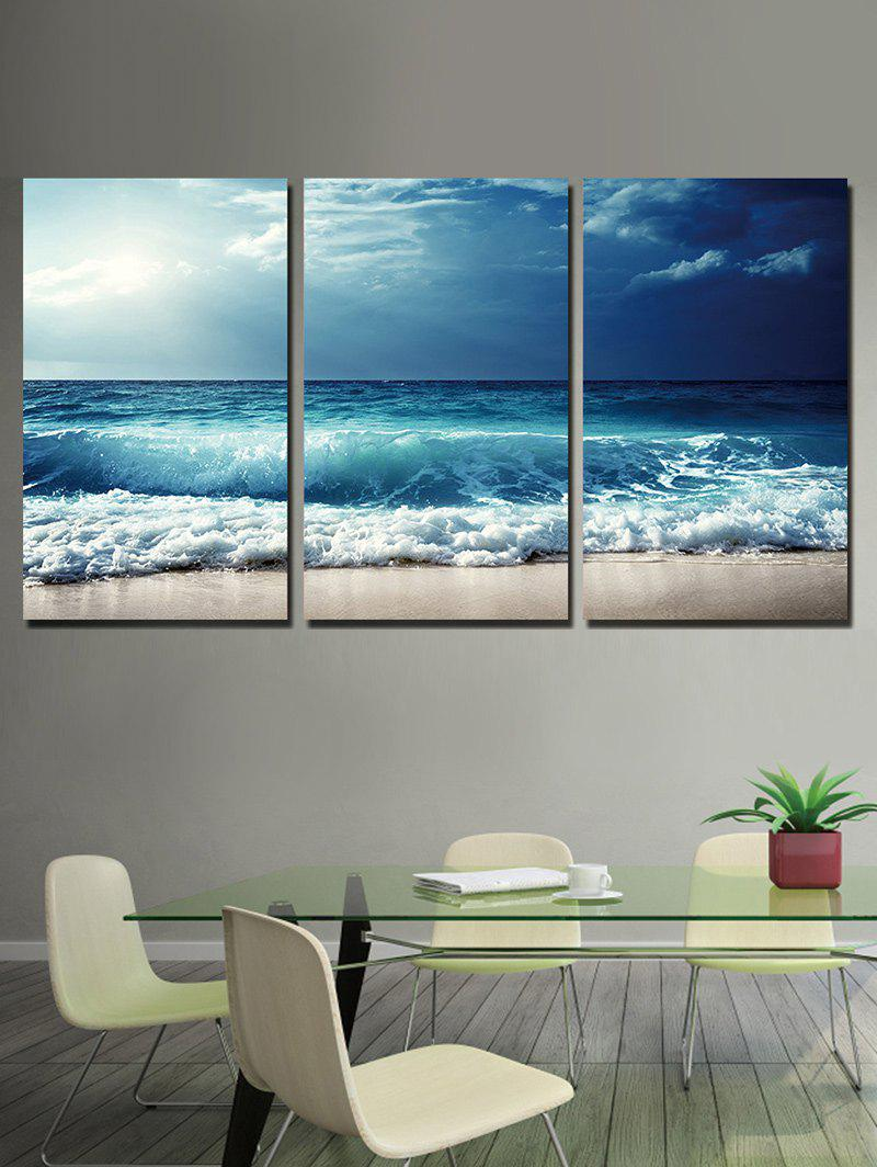 Affordable Beach Wave Print Unframed Split Canvas Paintings