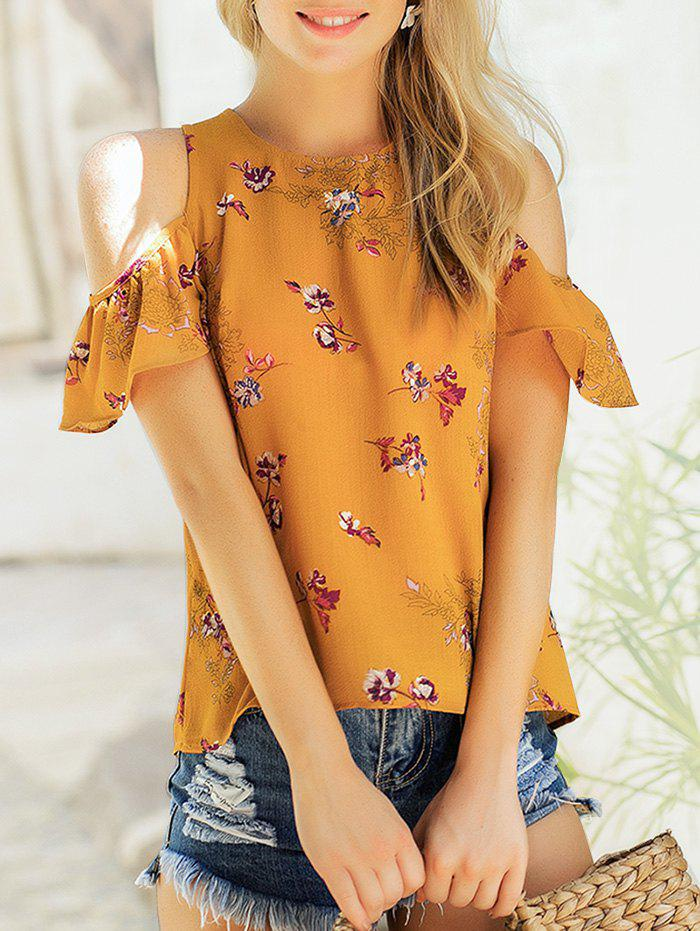 Hot Floral Print Cold Shoulder Top