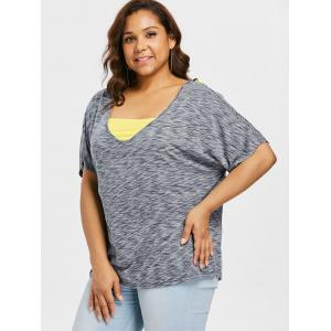 Plus Size Batwing Sleeve T-shirt with Tassels -