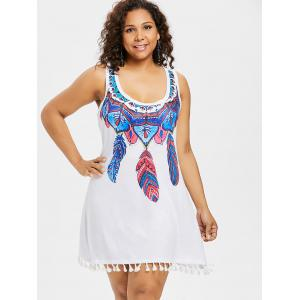 Feather Lace Insert Plus Size Dress -