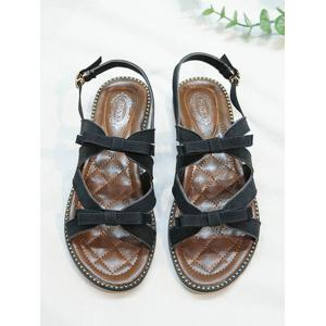 Flat Heel Buckle Strap Bowknot Casual Sandals -
