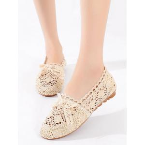 Hollow Out Bow Decorated Flat Heel Ballet Flats -