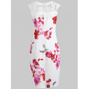 Floral Print Applique Pencil Dress -