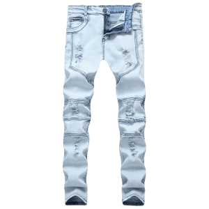 Сплетение Ripped Skinny Stretch Denim Biker Jeans -