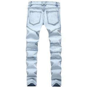 Splicing Ripped Skinny Stretch Denim  Biker Jeans -