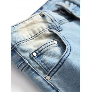 Five Pointed Stars Raised Zippers Ripped Jeans -