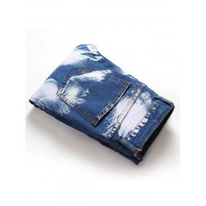 Hook Button Paint Splatter Print Straight Leg Jeans -