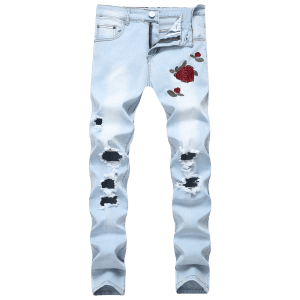 Flowers Embroidery Ripped Hole Jeans -