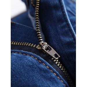 Gradient Color Pleated Zippers Ripped Skinny Bike Jeans -
