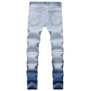 Hook Button Straight Leg Distressed Biker Jeans -