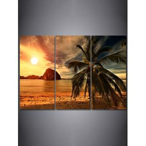 Beach Sunset Print Unframed Split Canvas Paintings -