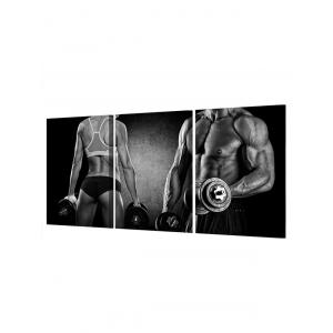 Fitness Dumbbell Print Unframed Split Canvas Paintings -